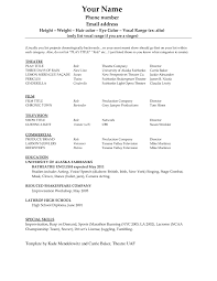 Format Of Resume Acting Resume Sample No Experience Httpwwwresumecareerinfo Actors