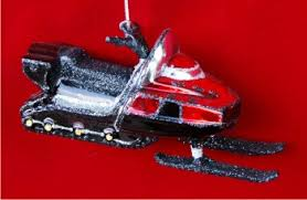 superfast snowmobile glass personalized ornaments