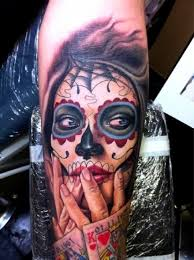 sugar skull sleeve abstract 3d design idea for and