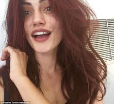 makeup free phoebe tonkin debuts her new fiery hair colour
