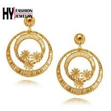 aliexpress buy fashion big size 18k gold plated men luxury gold plated flower simulated pearl earrings for women white