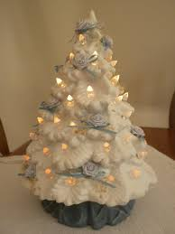vintage ceramic tree white with white lights 8 inches