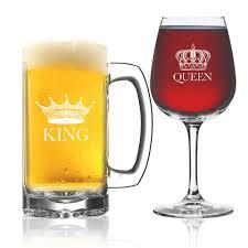 amazon com king beer queen wine glass set of 2 couples