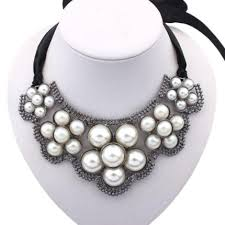 necklace pearls ribbon images Buy black ribbon bib necklace decorated with white pearls tie back jpg