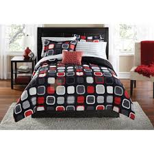 Red And Grey Comforter Minimalist Rectangle Red White And Black Polyester Geometric