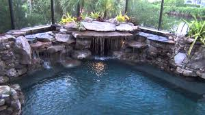 diy pool waterfall pool construction completed fitting several tons of natural stone
