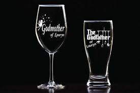 godmother wine glass custom etched godmother wine glass godfather glass set