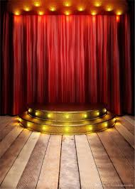 2018 red curtain stage photography background wood flooring gold stairs with light children kids studio photo booth backdrop wedding from backdropsfactory