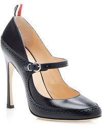 thom browne leather mary jane spectator pumps in blue lyst
