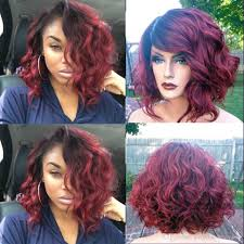 short loose wave hairstyle ombre 99j short bob wavy body wave human lace front wig glueless