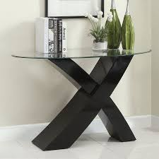 black lacquer console table black sofa table furniture of america xtres glass sofa table black