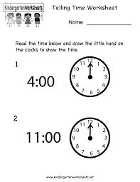 free printable telling time worksheet for kindergarten