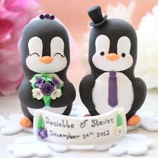 custom bride and groom penguin love bird wedding cake toppers