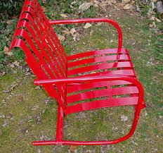 Red Metal Chair Vintage Strap Metal Garden Chair In Red Item 1135021