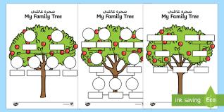 My Family Tree Worksheet Activity Sheet Arabic English My Family Tree Template