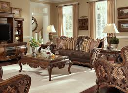 Fabric Chairs Living Room Lavelle Melange Leather And Fabric Sofa Set By Aico Aico Living