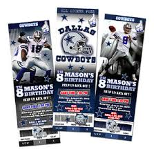 dallas cowboys ticket birthday party invitation football nfl