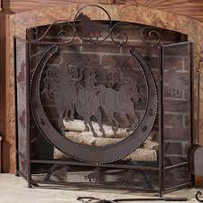 thundering hooves fireplace screen