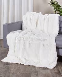 Faux Fur Blankets And Throws Genuine Rabbit Fur Blanket Fur Throw In White Fursource Com