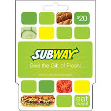 20 dollar gift card subway gift card entertainment dining gifts food shop