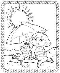 dora explorer printable coloring pages splash summer
