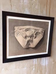 original italian antique charcoal drawing of gargoyle face omero