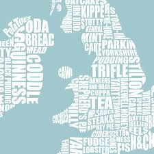 Map Of Britain British Gastronomy Map Print By Lucy Loves This