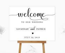 wedding signs template calligraphy heart black welcome sign template