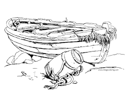 outline of a boat a free vintage coloring page