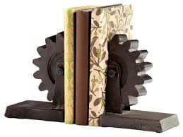 iron gear bookends set of 2 industrial bookends by we got lites