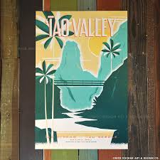 Hawaii Travel Art images Iao valley maui retro travel print iao valley vintage hawaii jpg