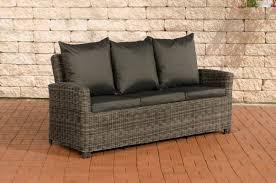 3er sofa grau sofa cp042 3 sitzer poly rattan kissen anthrazit grau meliert