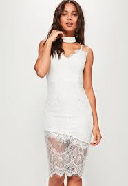 white lace dress white lace cami midi dress missguided