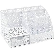 Metal Desk Organizer Easypag Hollow Flower Pattern 3 Compartment Office