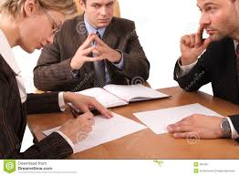 desk for 3 people group of business people negotiate at the desk stock photo image