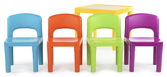 kids plastic table and chairs amazon com tot tutors kids plastic table and 4 chairs set vibrant