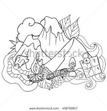 coloring pagebook adults children nature landscape stock vector