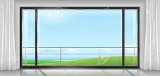 chambre ou hôtel de chambre ou maison appartement avec une grande baie vitrée