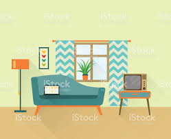 Retro Living Room Furniture by Flat Retro Living Room Vector Illustration Stock Vector Art