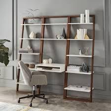west elm white bookcase ladder shelf desk wide bookshelf set west elm regarding stylish