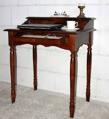 Schreibtisch Holz Sekretär 78x90x52cm 1 2 Schubladen Pappel Massiv Nussbaumfarben