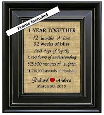 1 year anniversary gift for him framed 1 year together 1st anniversary gift 1 year by burlapnglass
