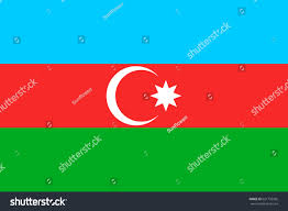 White Blue Orange Flag Azerbaijan National Flag Horizontal Tricolour Light Stock