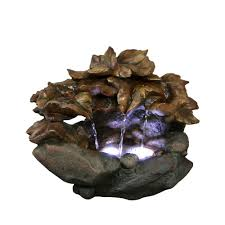 Solar Powered Water Features With Led Lights by Fountains Outdoor Decor The Home Depot