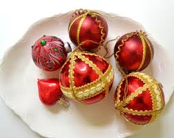 vintage glass christmas tree ornaments red and green vintage