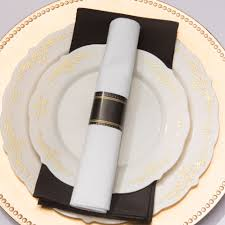 gold look plastic cutlery napkin roll set gone smarty had a party