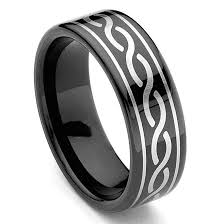 celtic rings black tungsten carbide laser engraved celtic ring