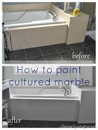 Can You Paint Over Bathroom Tile How To Paint Cultured Marble Tub Surround Cleverlyinspired 12 Jpg