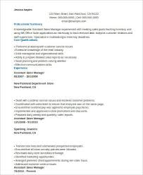 Sales Management Resume Sample Assistant Manager Resume 8 Examples In Word Pdf