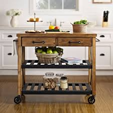 Crosley Furniture Kitchen Island Roots Rack Natural Industrial Kitchen Cart Crosley Furniture